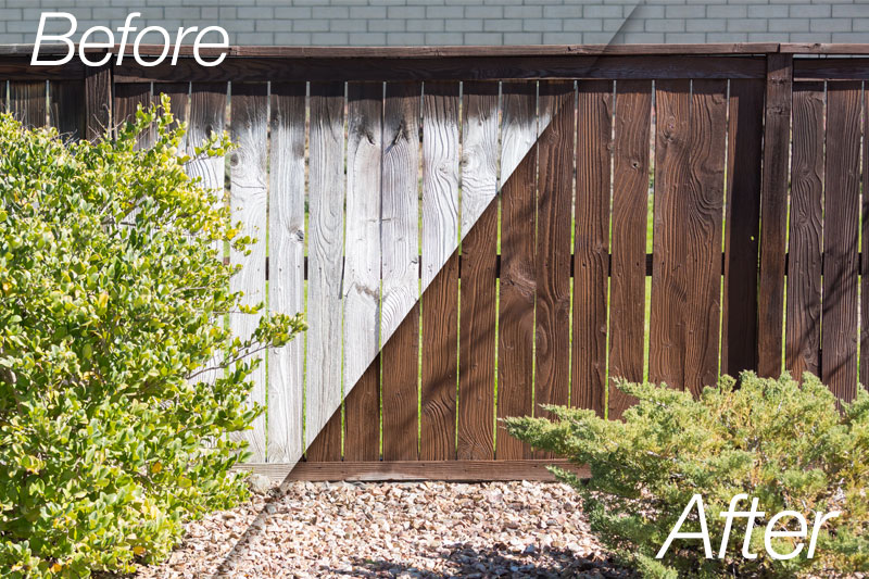 Soft Wash restoration of weathered wood fences and decks